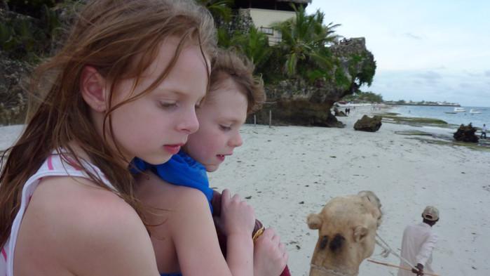 På kvällen är det mysigt att rida kamel på stranden