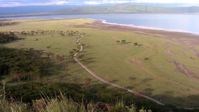 Utsikt över riftdalen och Lake Manyara.